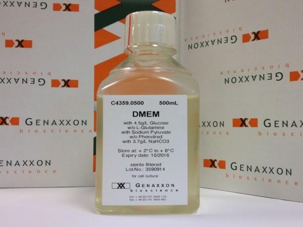 DMEM w/o Glutamin, with 4.5g/L Glucose, w/o Sodium pyruvate, w/o Phenol red