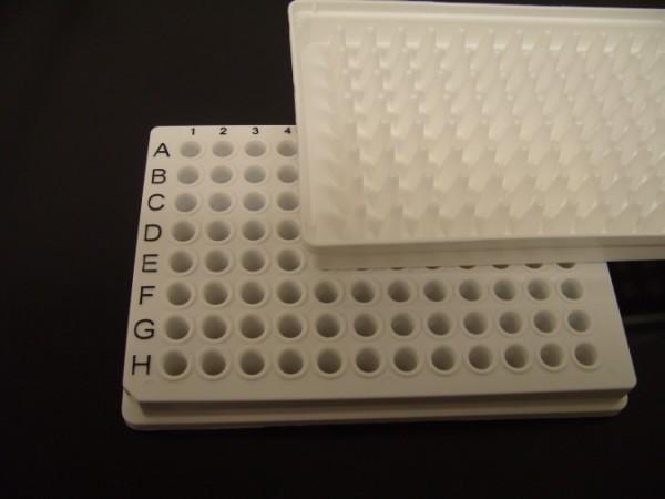 Weiße, low-profile PCR Platten mit Rand und Codierung